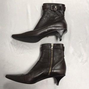 Prada 36 1/2 Ankle Boots Brown Buckle Zipper Heel